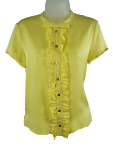 Women's Emilio Pucci Yellow Ruffled Short Sleeve Stretch Silk Blouse Top 8