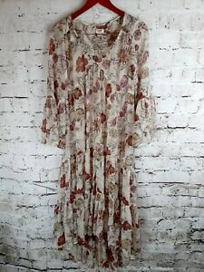 Mossimo Size Small Sheer Broomstick Hi Lo Long Sleeve Dress Cover Up Beige