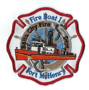 Baltimore City Md Maryland Fire Dept. Fire Boat 1 Fort Mchenry Patch - New