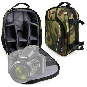 Duragadget | Camo Padded Backpack With Raincover For  Nikon Coolpix P950