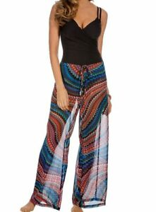 Miraclesuit 6502300 Zip Drive Cover Up Pant Multi Color New $112