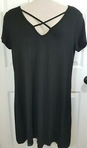 Black Rayon Dress Casual Loose Beach Cover Up