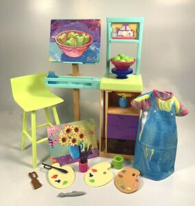 Barbie House Career Accessories Art Studio Easel Table Chair Still Life Supplies
