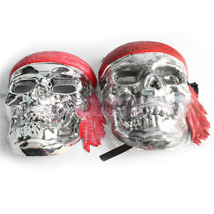 2pcs/lot Skull Skeleton Mask Fancy Scary Halloween Adult Costume Plastic Silver