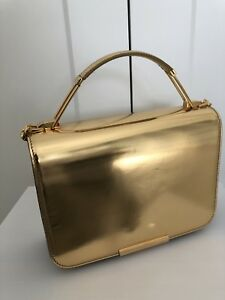 Auth Emilio Pucci 62bc30 Gold Mirror Calf Leather Shoulder Bag With A Chain
