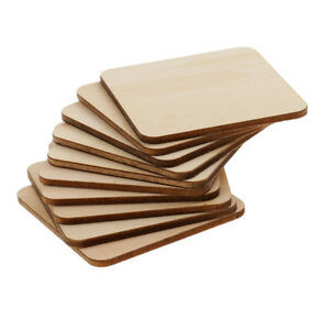10x Square Mdf Unfinished Wooden Blank Plaque For Painting Drawing 60x60mm
