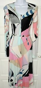 Emilio Pucci Belted Silk Jersey Dress Size Small