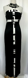 Emilio Pucci Sz 4 Monochrome Printed Silk Beaded Halter Collar Dress Sold-out