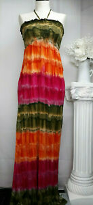Raviya Green Orange Pink Tie Dye Maxi Swimsuit Cover-up Dress 100% Rayon Small
