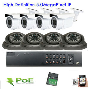 Hd 8ch Nvr 1920p 5mp Vari-focal Zoom Lens Poe Ip Outdoor Security Camer System