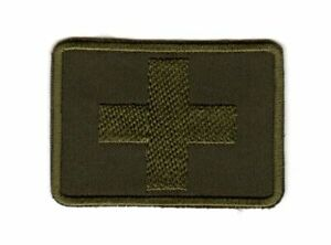 Tactical Army Morale Badge Patch Medic First Aid Red Cross Olive Camo Paramedic