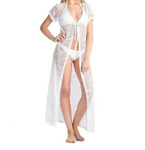 Women's Open Front Long Swimwear White Cover-up Beach Dress Made In Usa