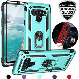 For Lg Stylo 6 Magnetic Support Metal Ring Stand Phone Case Cover+tempered Glass