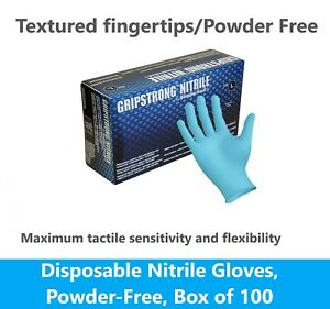 100 Black Nitrile Blue Disposable Gloves 4 Mil, Medical Exam Latex, Powder Free