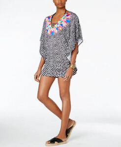 Bar Iii Medium Black Geometric Feathered Daze Swimsuit Cover-up M Nwt