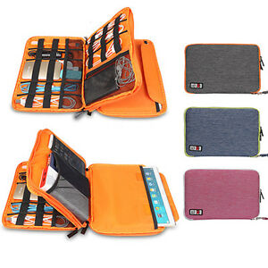 Storage Carry Bag Case For Tablet Ipad Air Usb Cable Double Decker Multifunction
