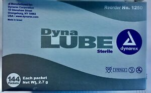 Dynarex Dyna Lube Sterile Lubricating Jelly, 2.7g Foil Packets 144 Box Exp 09/22
