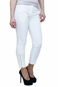 Nwt Emilio Pucci Skinny Zippers White Women Pants Small Italy