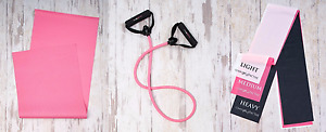 Covergirl Workout Exercise Yoga Mat Resistance Band Or 3 Flat Resistance Bands