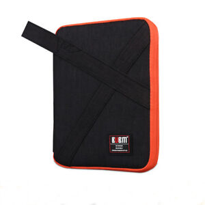 Bubm Electronic Accessories Double Layer Cable Organizer Bag- Blk/orange/gray