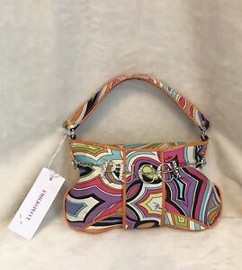 Emilio Pucci Orange Multicolor Silver Pucci Charm 100% Silk Handbag Evening Bag