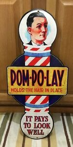 Barber Shop Pom Po Lay Metal Decor Shave Pool Oster Hair Salon Vintage Style 8