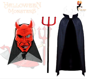 Men Boys Red Devil Halloween Demon Fancy Dress School Church Play Costume Lot