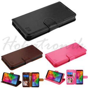 Motorola Moto E6 Leather Flip Wallet Phone Case Cover Protector Card Slot Pouch
