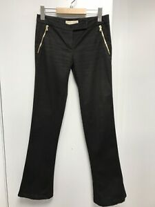 Emilio Pucci Black 97% Cotton Trousers With Small Flare Uk 6-8 / It 40