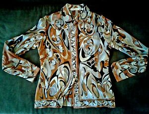 Gorgeously Print Emilio Pucci Silk Shirt Blouse. Classic. 44ital 6us