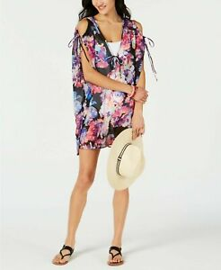 Nwt Bar Iii Swimsuit Cover Up Dress Tunic Tech Floral Cold-shoulder Size L