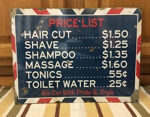 Barber Shop Price List Metal Decor Shave Oster Clipper Hair Salon Vintage Style