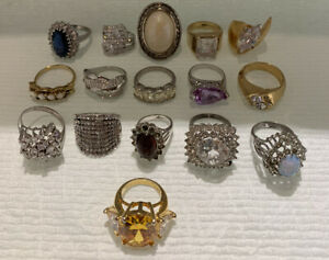 Lot Of 16 Vintage To Now Fancy Rhinestone Cubic Zirconia Cocktail Fashion Rings