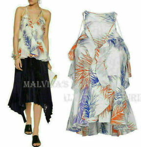 Emilio Pucci Top Ruffled Feather Print Silk Crepe Cutout $920 Sz It 38 Us 2