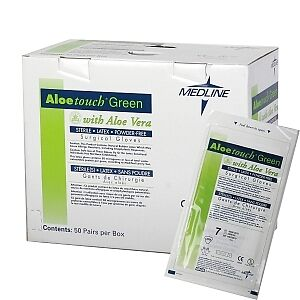 Aloetouch Sterile Powder-free Green Surgical Gloves By Medline Size 6.5