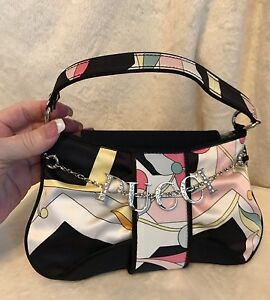 Emilio Pucci Black Multicolor Silver Pucci Charm 100% Silk Handbag Evening Bag