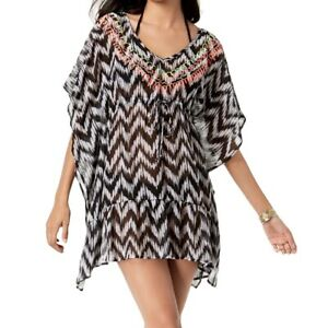 Miken Juniors' Printed Embroidered V-back Ruffled Tunic Swimsuit Cover Up