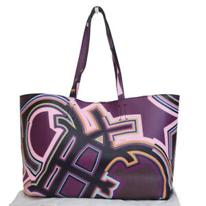 Authentic Emilio Pucci Logos Tote Shoulder Bag Pvc Leather Purple Italy 02es265