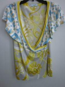 Emilio Pucci Butterfly Sleeve Cape Neckline Crossover Silk Blouse Sz 44it 10us