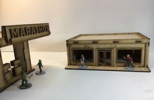 Gas Station 28mm Terrain The Walking Dead All Out War Mdf Building Project Z