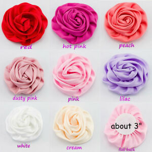50pcs Satin Silk Fabric Flowers For Baby Headbands Hair Accessories Diy Supply