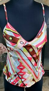 """Emilio Pucci Firenze Silk Camisole Top Pink Abstract Print Nwot S 34"""" Chest Rare"""