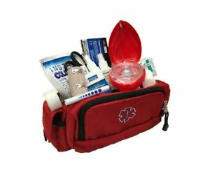 Line2design First Aid Fanny Pack Kit - Ems Paramedic Supplies Bag - Red