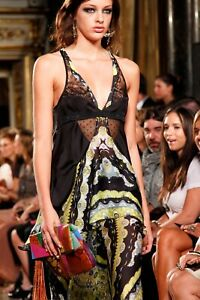 Emilio Pucci Runway Lace Inset Silk Racer Back Tank Top It38 - Us2