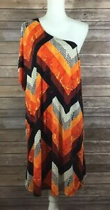 Swim By Cacique Womens One Shoulder Swimsuit Shirt Cover Up 18 20 Snakeskin G71