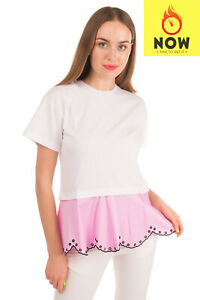 Rrp€500 Emilio Pucci T-shirt Top Size Xs Embroidered Scalloped Hem Contrast Trim