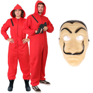 Money Heist Costume Adult Halloween Fancy Dress Mens Womens Cosplay Outfit Lot
