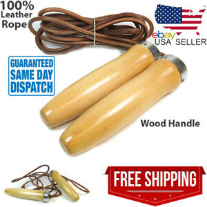 Leather Jump Rope Exercise Heavy Duty Skipping Fitness Wooden Handle 9ft Aerobic