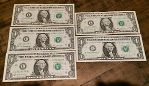 $1 Bills Fancy Serial #s 5 Of A Kind Lot Of 5 All Consecutive 0s, 1s, 2s, 3s, 6s