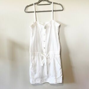 Stile Benetton. Women's White Linen Button Up Beach Swim Cover Up Dress L Euc